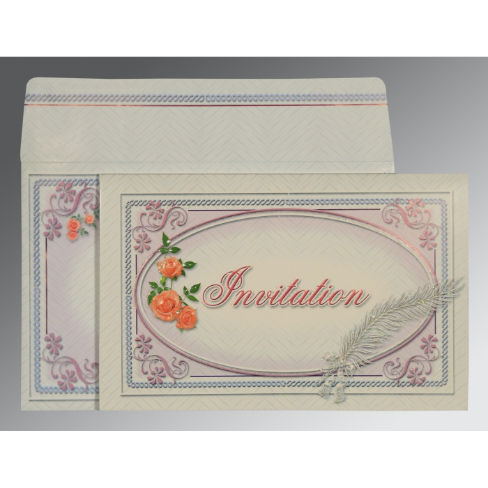 Ivory Embossed Wedding Card : CW-1327 - IndianWeddingCards