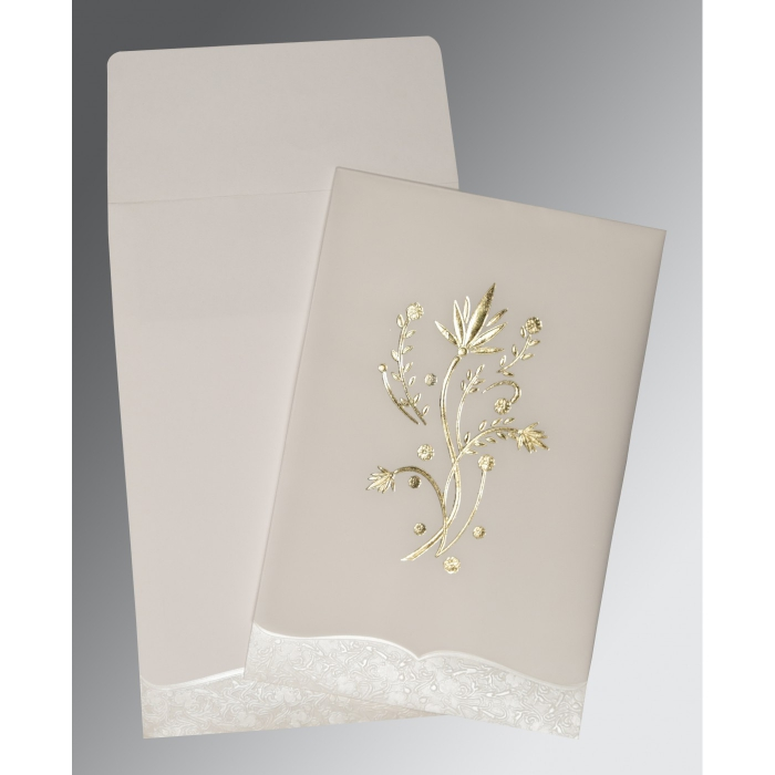 Ivory Floral Themed - Foil Stamped Wedding Card : CS-1495 - IndianWeddingCards