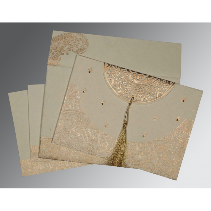 Ivory Handmade Cotton Embossed Wedding Card : CW-8234B - IndianWeddingCards
