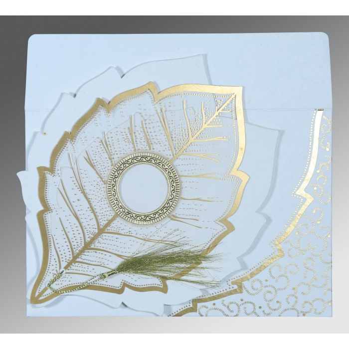 Ivory Handmade Cotton Floral Themed - Foil Stamped Wedding Card : CS-8219H - IndianWeddingCards