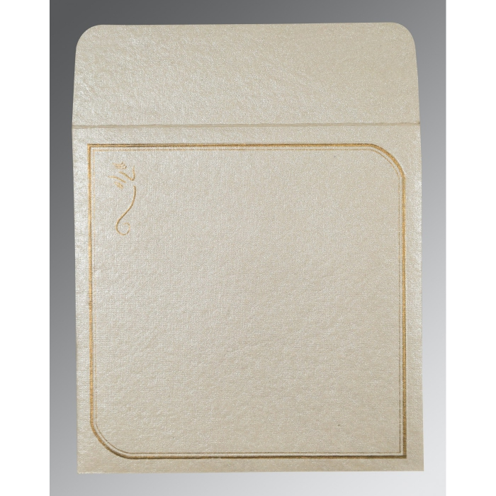 Ivory Handmade Shimmer Foil Stamped Wedding Card : CW-2235 - IndianWeddingCards