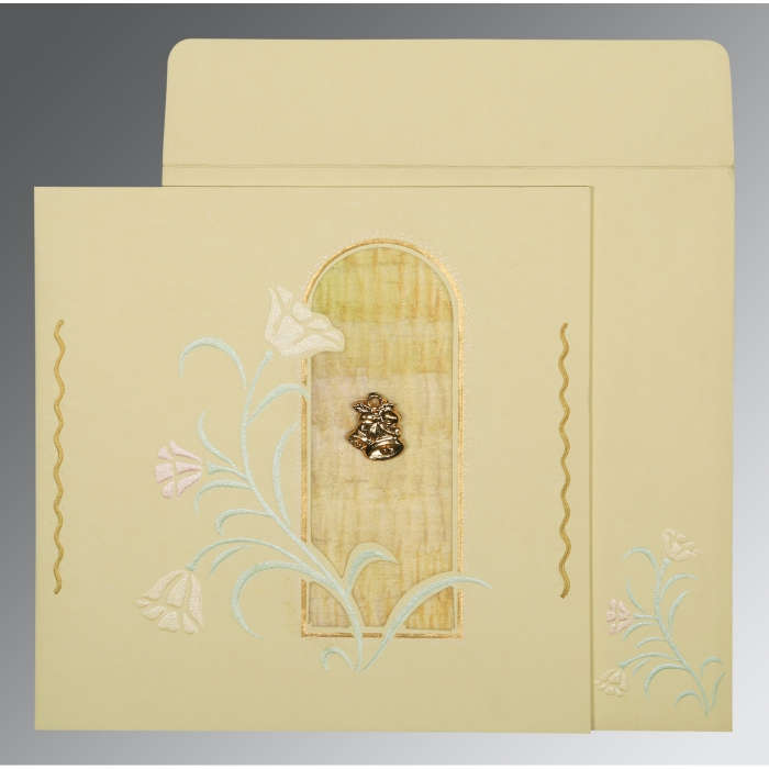 Ivory Matte Embossed Wedding Card : CC-1203 - IndianWeddingCards