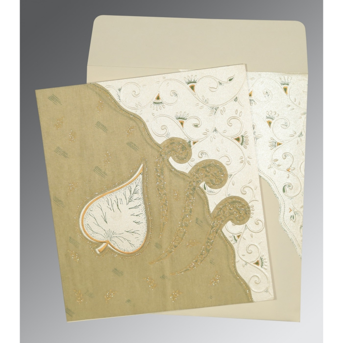 Ivory Matte Embossed Wedding Invitation : CD-1197 - IndianWeddingCards