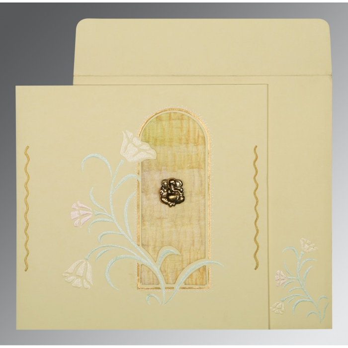 Ivory Matte Embossed Wedding Card : CIN-1203 - IndianWeddingCards