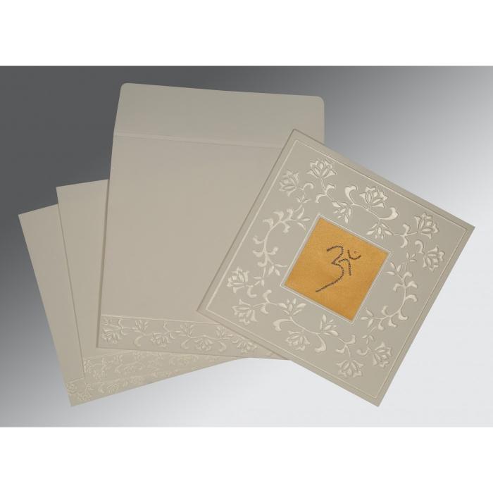 OFF-WHITE MATTE EMBOSSED WEDDING INVITATION : CIN-2238 ...