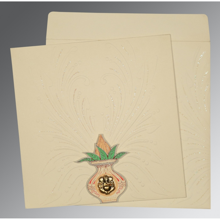Ivory Matte Embossed Wedding Invitation : CW-1188 - IndianWeddingCards