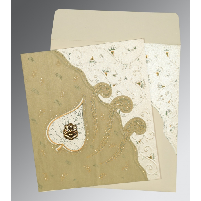Ivory Matte Embossed Wedding Invitation : CW-1197 - IndianWeddingCards
