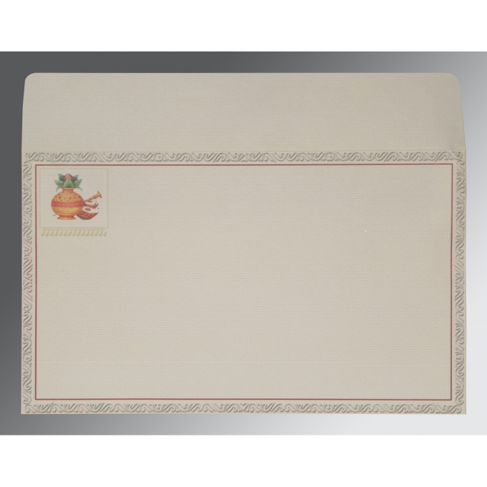 Ivory Matte Embossed Wedding Card : CW-2077 - IndianWeddingCards