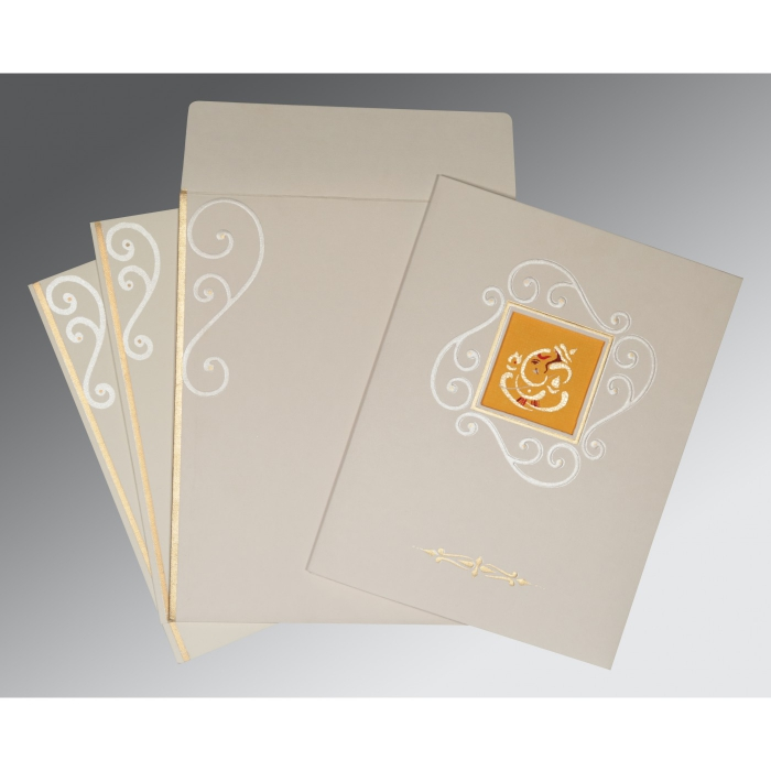 Ivory Matte Embossed Wedding Invitation : CW-2116 - IndianWeddingCards