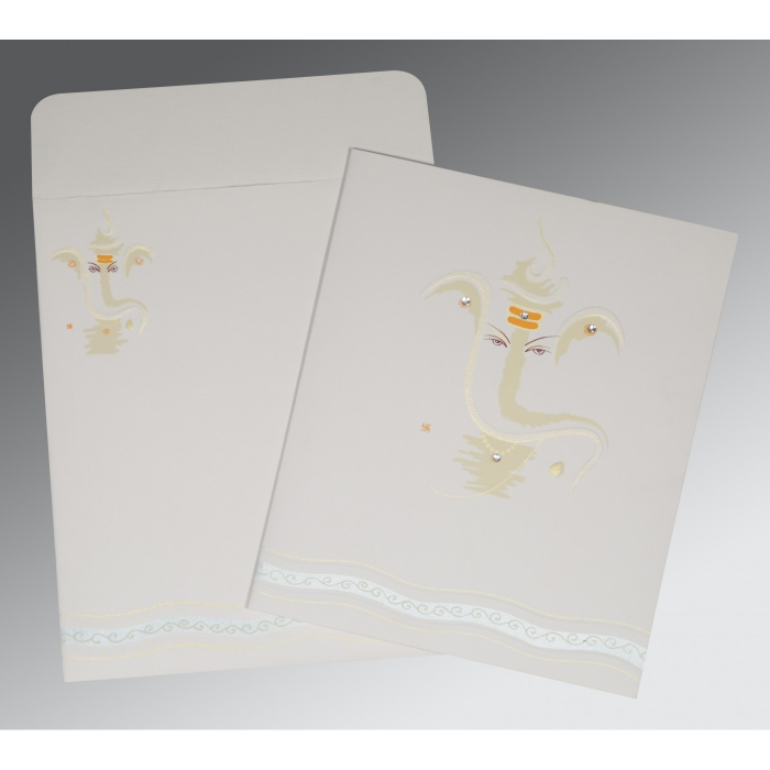 Ivory Matte Embossed Wedding Card : CW-2169 - IndianWeddingCards