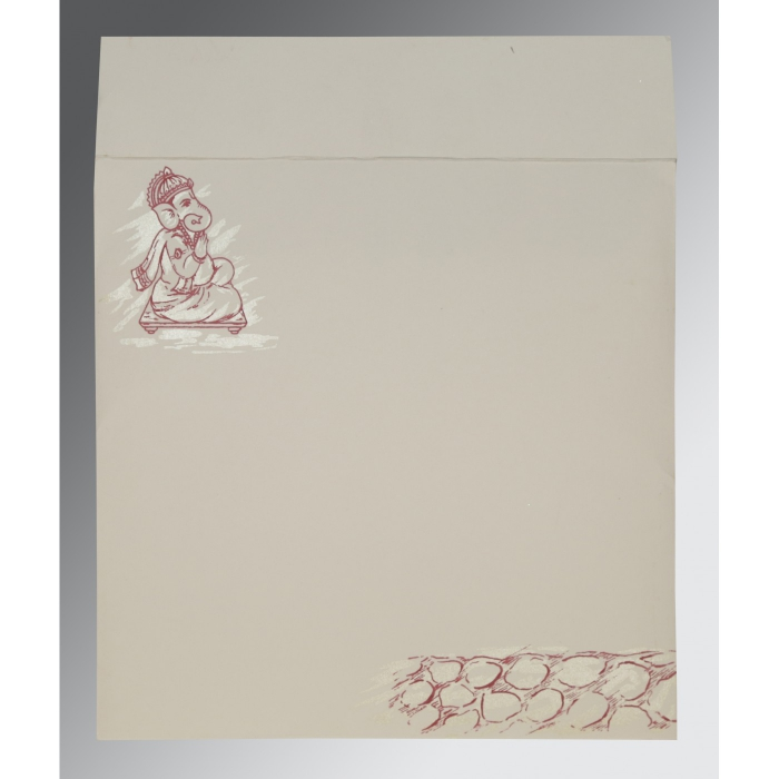 Ivory Matte Embossed Wedding Card : CW-2201 - IndianWeddingCards