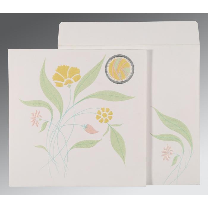 Ivory Matte Floral Themed - Embossed Wedding Invitation : CS-1114 - IndianWeddingCards