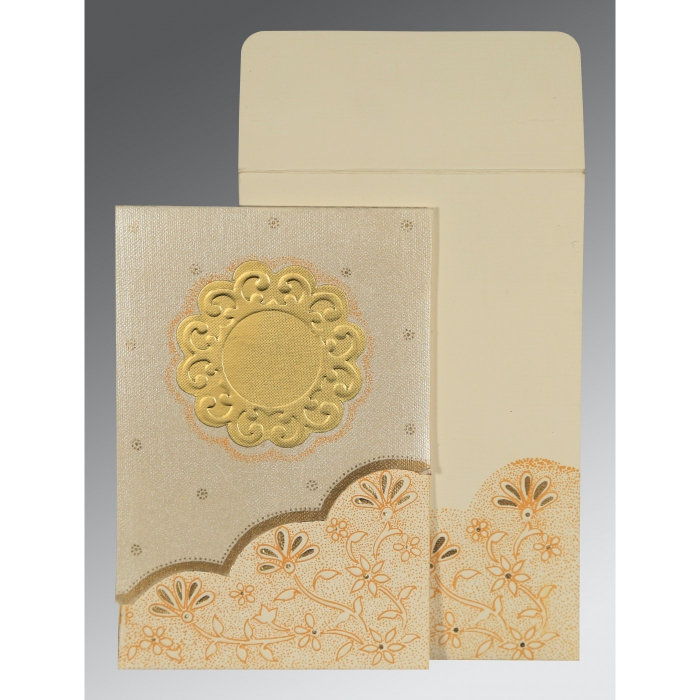 Ivory Matte Floral Themed - Screen Printed Wedding Card : CI-1183 - IndianWeddingCards