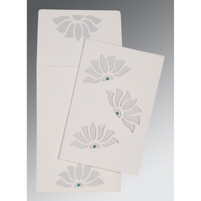 Ivory Matte Floral Themed - Screen Printed Wedding Invitation : CW-1254 - IndianWeddingCards