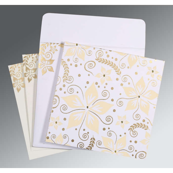 Ivory Matte Floral Themed - Screen Printed Wedding Invitation : CW-8240D - IndianWeddingCards