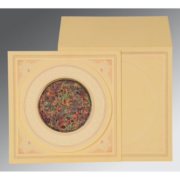Ivory Matte Foil Stamped Wedding Invitation : CD-1101 - IndianWeddingCards