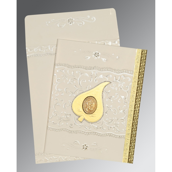 Ivory Matte Foil Stamped Wedding Invitation : CI-1195 - IndianWeddingCards