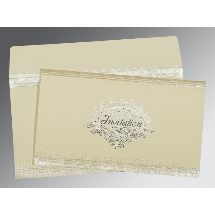 Ivory Matte Foil Stamped Wedding Invitation : CS-1338 - IndianWeddingCards