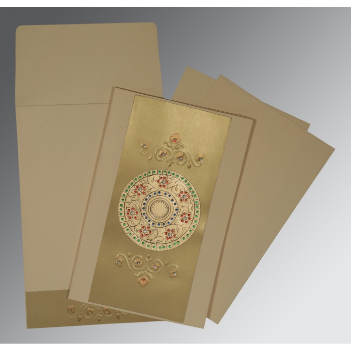 Ivory Matte Foil Stamped Wedding Invitations : CW-1407 - IndianWeddingCards