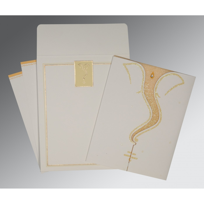 Ivory Matte Glitter Wedding Card : CW-2103 - IndianWeddingCards