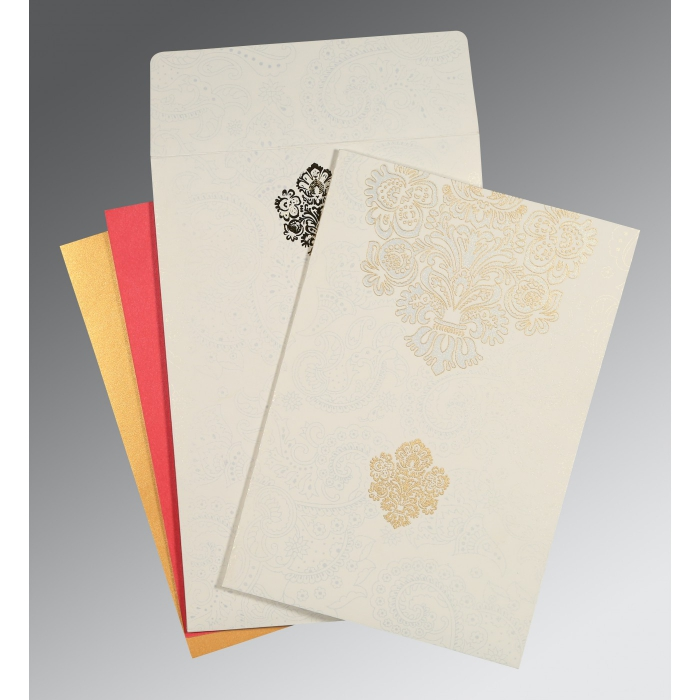 Ivory Matte Paisley Themed - Screen Printed Wedding Invitation : CW-1508 - IndianWeddingCards