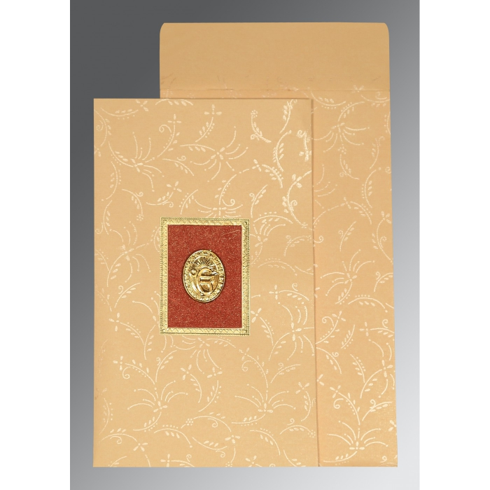 Ivory Matte Screen Printed Wedding Card : CS-1303 - IndianWeddingCards