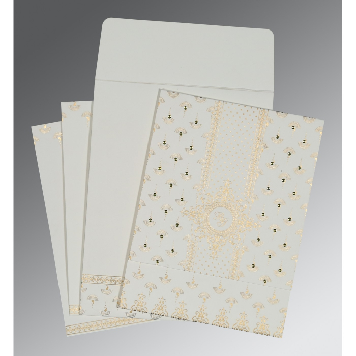 Ivory Matte Screen Printed Wedding Invitation : CW-8247M - IndianWeddingCards