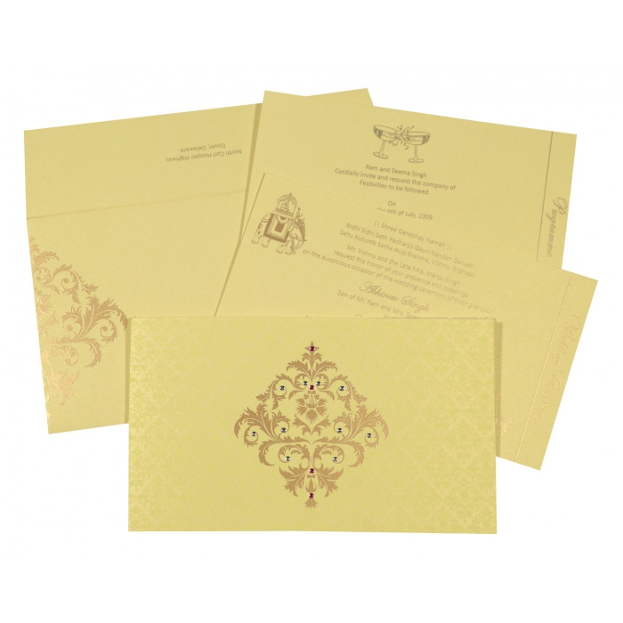 Ivory Shimmery Damask Themed - Screen Printed Wedding Card : CS-8257B - IndianWeddingCards