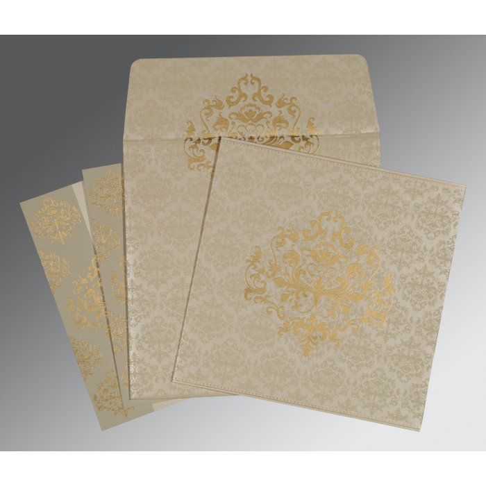 Ivory Shimmery Damask Themed - Screen Printed Wedding Card : CW-8254A - IndianWeddingCards