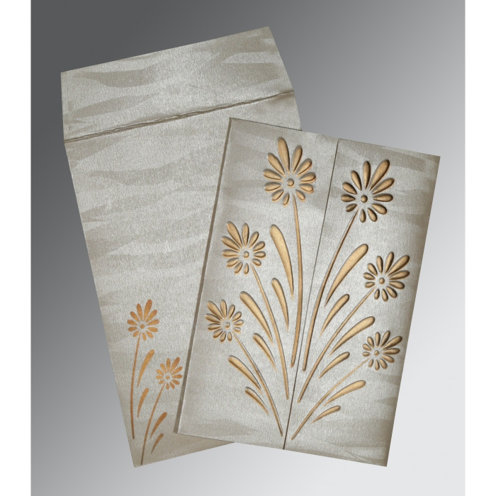 Ivory Shimmery Floral Themed - Embossed Wedding Card : CC-1378 - IndianWeddingCards