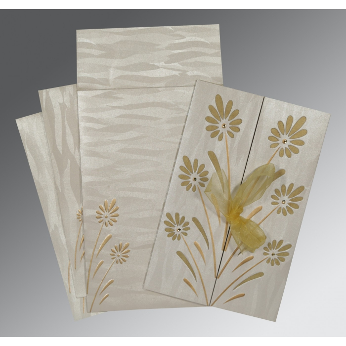 Ivory Shimmery Floral Themed - Embossed Wedding Card : CW-1372 - IndianWeddingCards