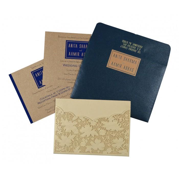 Ivory Shimmery Floral Themed - Laser Cut Wedding Card : CD-1586 - IndianWeddingCards