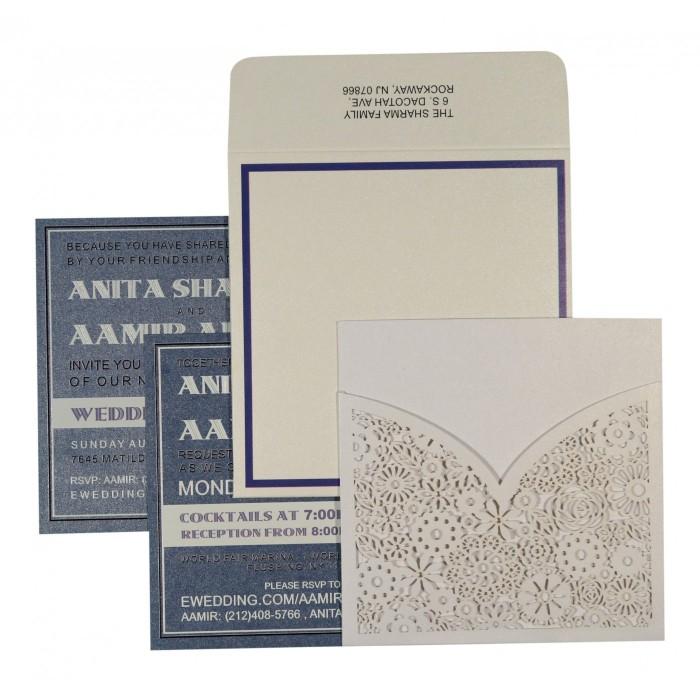 Ivory Shimmery Floral Themed - Laser Cut Wedding Invitation : CD-1593 - IndianWeddingCards
