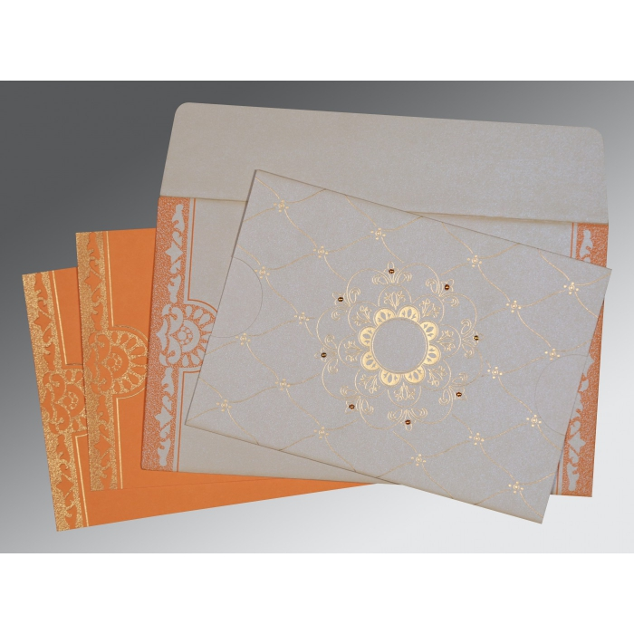 Ivory Shimmery Floral Themed - Screen Printed Wedding Card : CD-8227D - IndianWeddingCards