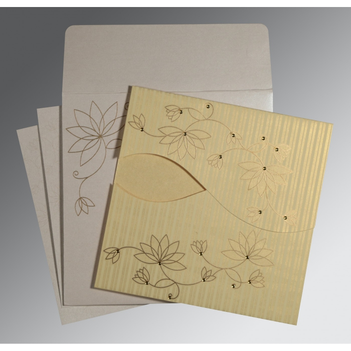 Ivory Shimmery Floral Themed - Screen Printed Wedding Invitation : CD-8251H - IndianWeddingCards