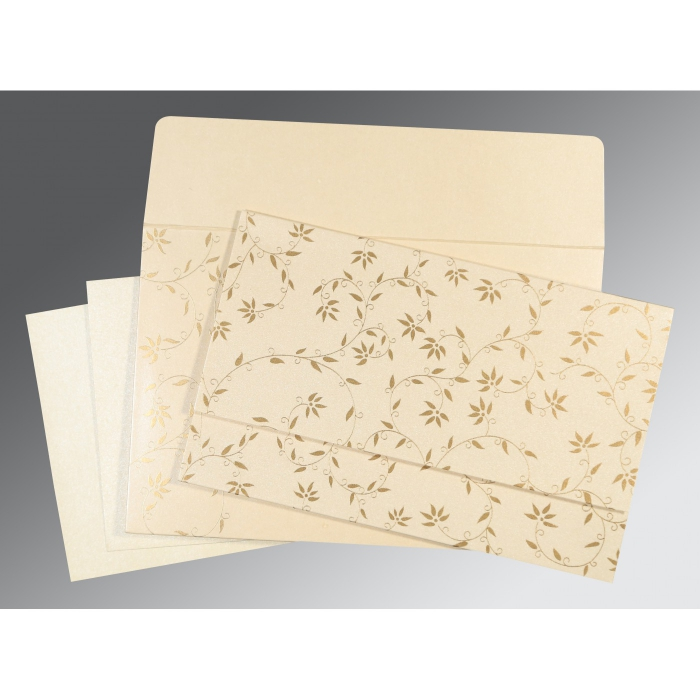 Ivory Shimmery Floral Themed - Screen Printed Wedding Invitation : CS-8226L - IndianWeddingCards