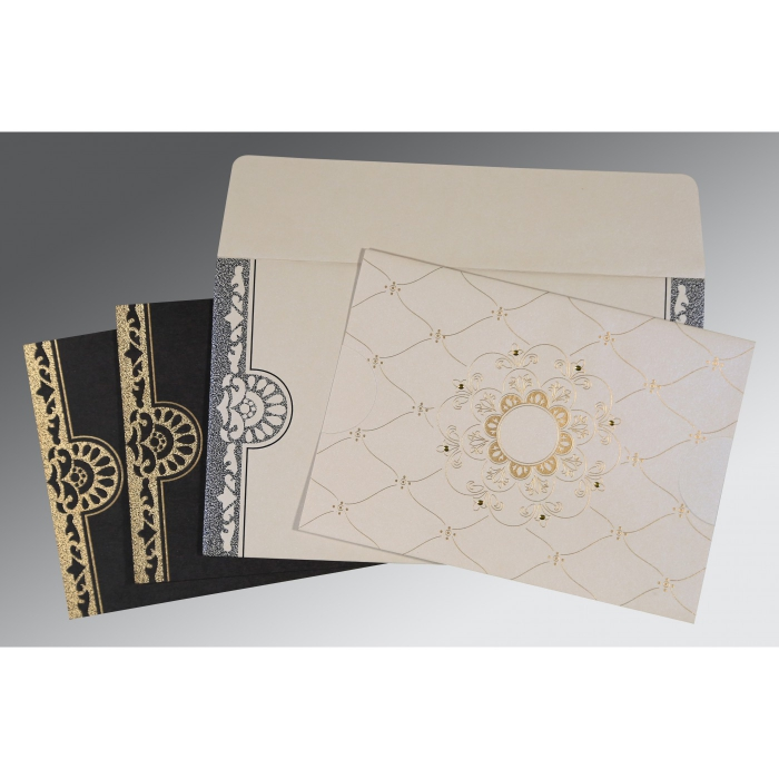 Ivory Shimmery Floral Themed - Screen Printed Wedding Invitations : CW-8227A - IndianWeddingCards