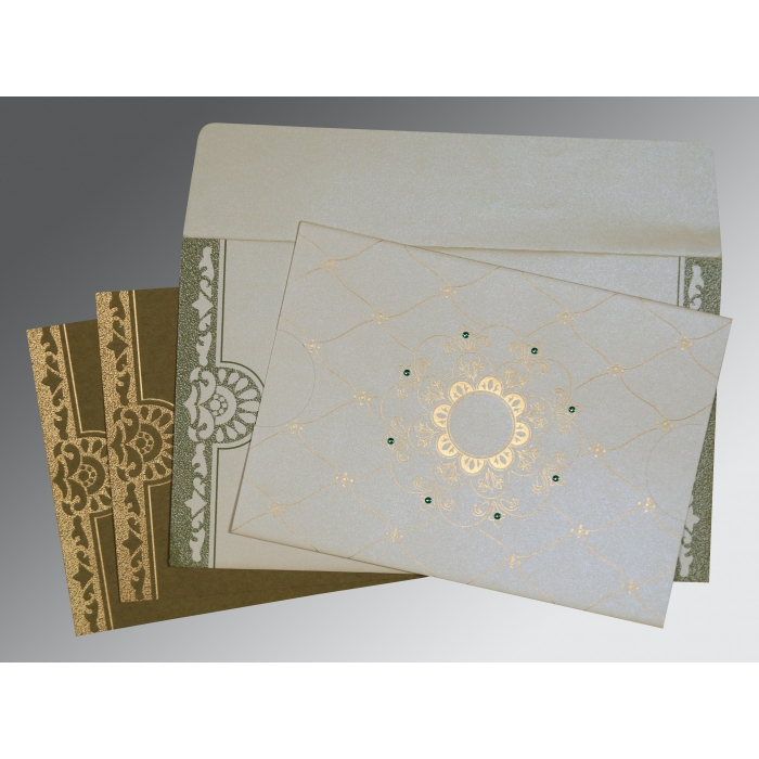 Ivory Shimmery Floral Themed - Screen Printed Wedding Card : CW-8227F - IndianWeddingCards