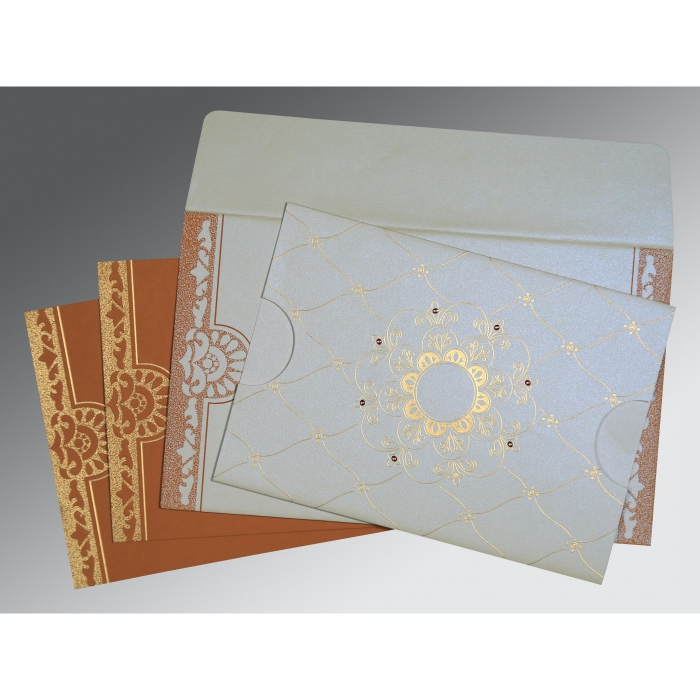 Ivory Shimmery Floral Themed - Screen Printed Wedding Card : CW-8227H - IndianWeddingCards