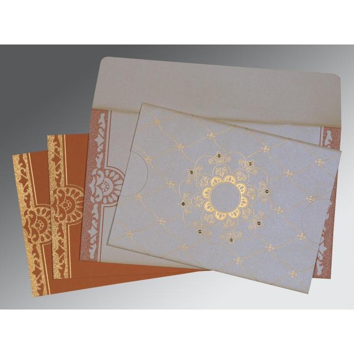 Ivory Shimmery Floral Themed - Screen Printed Wedding Invitations : CW-8227L - IndianWeddingCards