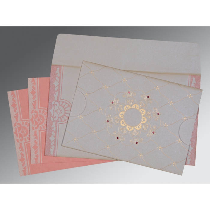 Ivory Shimmery Floral Themed - Screen Printed Wedding Card : CW-8227M - IndianWeddingCards