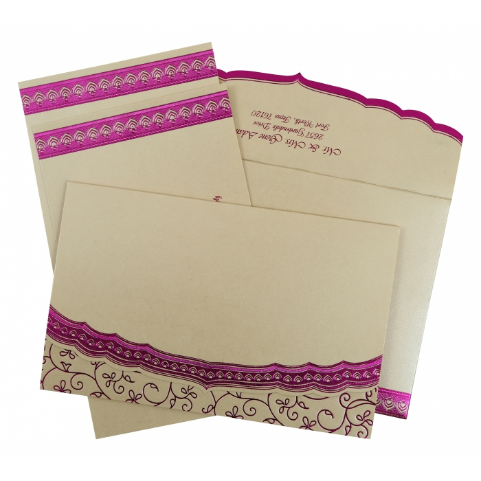 Ivory Shimmery Foil Stamped Wedding Invitation : CS-806C - IndianWeddingCards