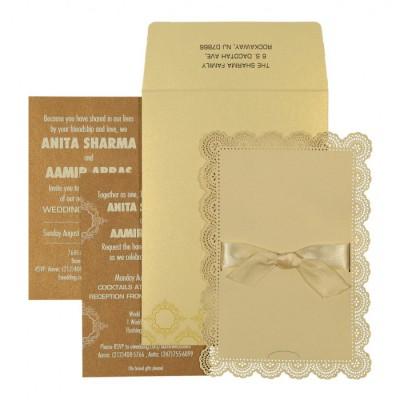 Ivory Shimmery Laser Cut Wedding Invitation : CC-1588 - IndianWeddingCards