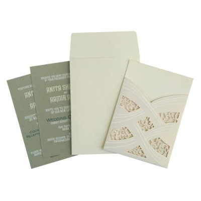 Ivory Shimmery Laser Cut Wedding Card : CW-1590 - IndianWeddingCards
