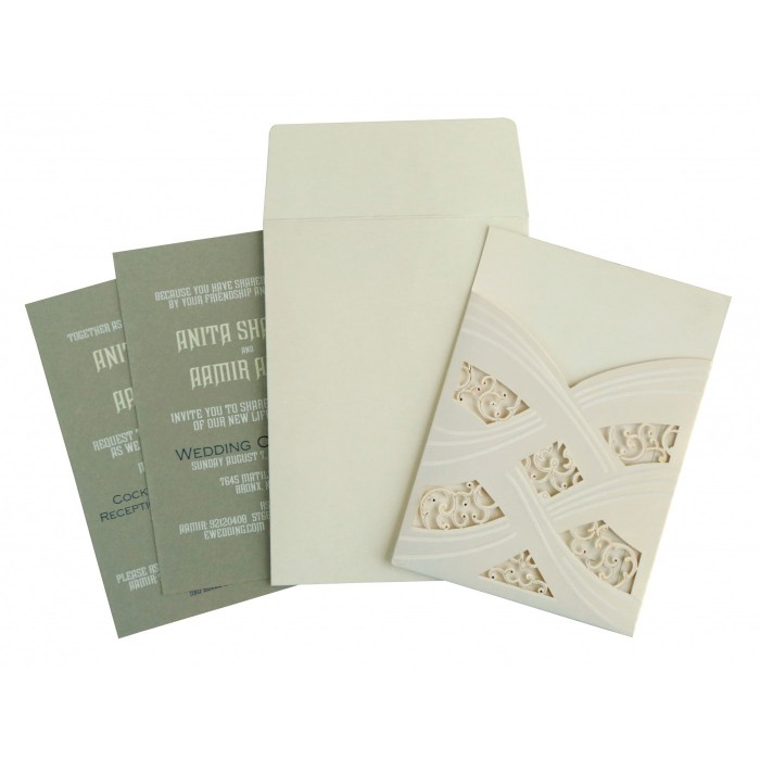 Ivory Shimmery Laser Cut Wedding Card : CD-1590 - IndianWeddingCards