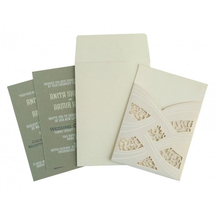 Ivory Shimmery Laser Cut Wedding Card : CIN-1590 - IndianWeddingCards