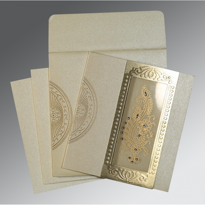 Ivory Shimmery Paisley Themed - Foil Stamped Wedding Invitation : CW-8230O - IndianWeddingCards