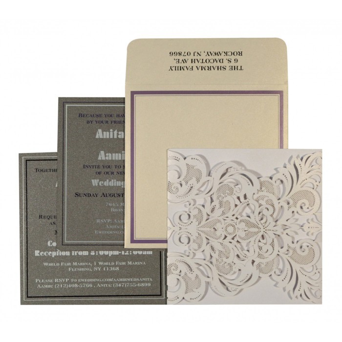 Ivory Shimmery Paisley Themed - Laser Cut Wedding Invitation : CW-1592 - IndianWeddingCards