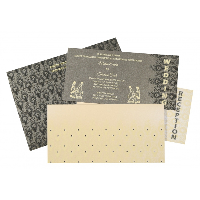 Ivory Shimmery Peacock Themed - Screen Printed Wedding Invitation : CW-8256D - IndianWeddingCards