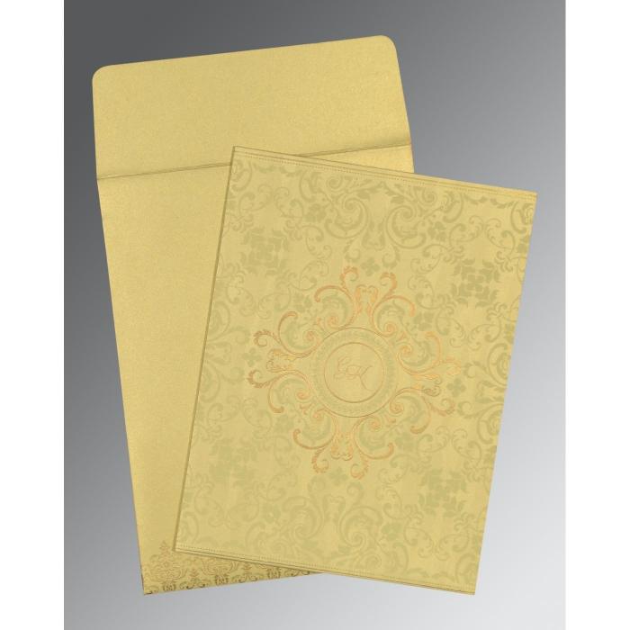 Ivory Shimmery Screen Printed Wedding Card : CI-8244J - IndianWeddingCards